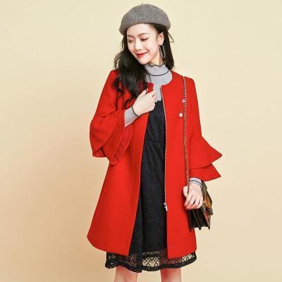 【新品】拉夏贝尔秋冬外套女装韩版圆领荷叶袖中长款呢大衣宽松毛呢上衣70009257