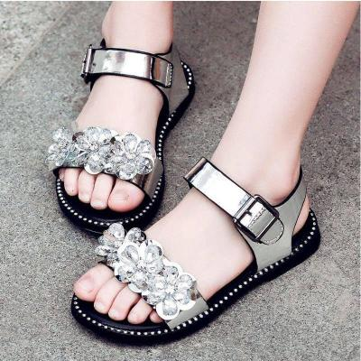 女童凉鞋2018新款韩版夏季时尚水钻小女孩露趾童鞋中大童鞋子