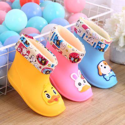 搭啵兔时尚雨鞋儿童保暖加棉防滑水鞋宝宝雨靴男女可爱卡通保暖