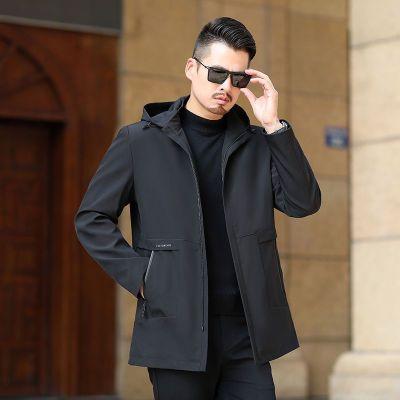 衫冬季季新款中年男士中长款连帽中老年爸爸秋装休闲外套 莎丞