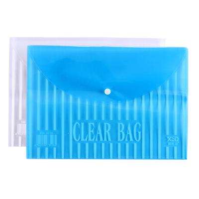 新時達XD-3518紐扣袋A4文件袋透明塑料檔案袋加厚票據按扣文具收納袋資料袋辦公學生用品20個/包