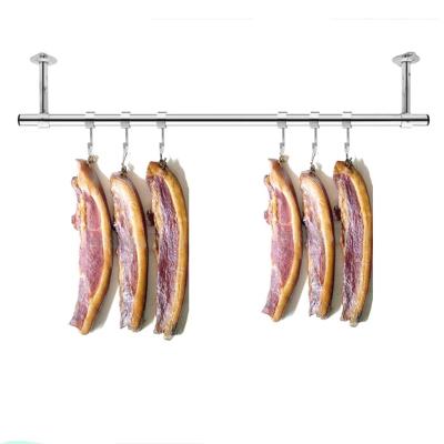 定制阳台固定式晾衣杆25加厚不锈钢挂衣杆晒衣架单杆墙吊顶装 杆长1.5米+40cm高(送风勾)