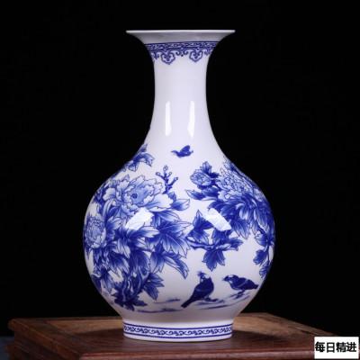 每日精進 景德鎮陶瓷器青花骨瓷榮華富貴花瓶 家居裝飾花瓶工藝品擺件 賞瓶