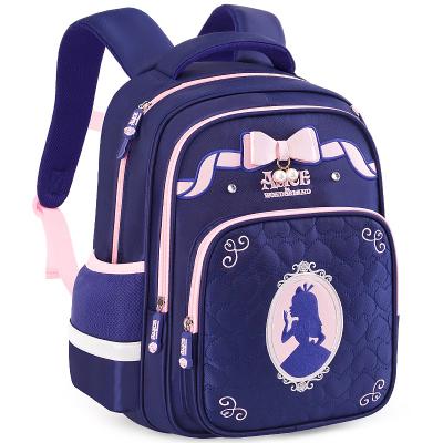 迪士尼(Disney)愛麗絲書包小學生女童1-3年級公主7-10歲女孩兒童減負雙肩背包SA80021藏青