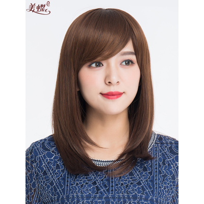 假发女长发隐形无痕全头 斜刘海自然中长发锁骨发内扣减龄假发套