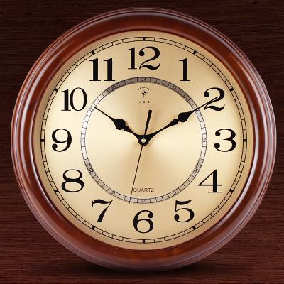 北極星(POLARIS) 大氣典雅實木客廳掛鐘創意靜音掛表歐式復古日本麗聲機芯石英鐘表臥室書房金屬鐘面家用時鐘圓形壁鐘