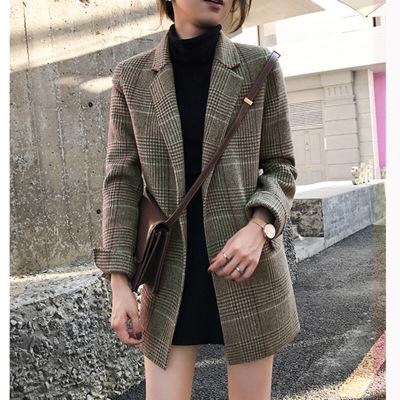 追记 2019秋装新款格纹西服复古宽松中长款呢格子小西装外套女