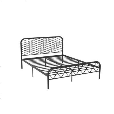 北歐ins網紅風斯黛拉金色雙人鐵床極簡設計師1.8米床鐵藝床成人 1800mm*1900mm_黑色(排骨架