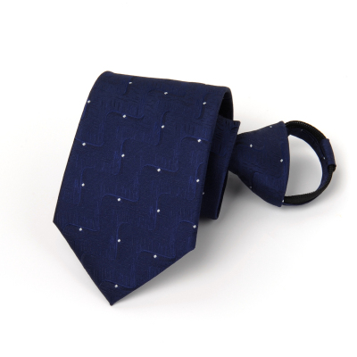 男士正装拉链领带 一拉得8CM商务结婚韩版蓝色懒人领带拉链式黑纯色箭头型日系复古时尚英伦 TCVV