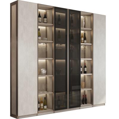 拉迷整体轻奢风酒柜定做客厅玻璃隔断柜餐边柜吧台家用落地展示柜定制  订金