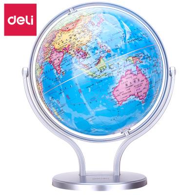 得力(deli)地球儀中學地理辦公學習旋轉世界學生政區萬向地球儀 Ф14.2cm 2167abs底座720度旋轉辦公文儀