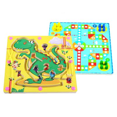兒童早教益智木制雙面磁性運筆迷宮桌面游戲親子互動3-6-12歲男孩女孩玩具恐龍迷宮飛行棋二合一