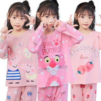 兒童睡衣女春秋小孩寶寶長袖薄款套裝女童公主卡通空家居服