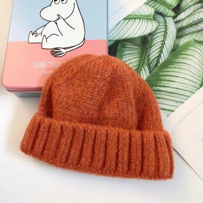 抹炫(MOXUAN)韩国纯色羊毛儿童针织帽卷边百搭宝宝瓜皮帽套头帽毛线帽