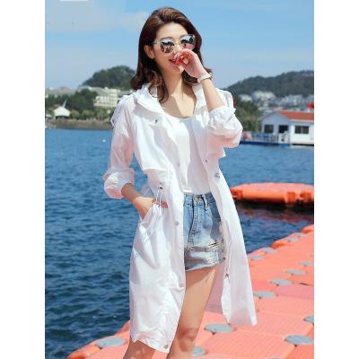 防曬衣女中長款2020夏季新款薄款白色防曬服流行仙女長款風衣外套