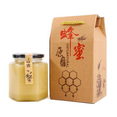 【正常發貨】純正天然土蜂蜜 農家蜂蜜 土蜂蜜蜂巢蜜 蜂蜜 玻璃瓶禮盒裝500克 拍2送禮袋