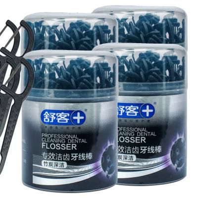 舒客專效潔齒牙線棒竹炭深潔50支*4盒扁線口腔護理弓形棒家庭裝