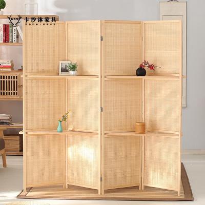 卡汐沐實木中式竹編屏風隔斷可折疊移動辦公室屏風隔斷客廳折屏玄關