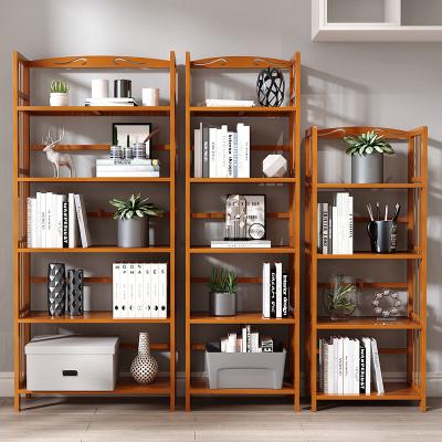 竹山下書架落地簡易辦公室書房小省空間收納置物架簡約兒童學生竹子書柜