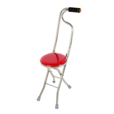 老人手杖不锈钢四脚手杖椅凳四角老年人拐杖凳可折叠椅子