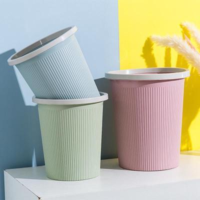 家用簡約垃圾桶客廳無蓋大號創意塑料小筒臥室廚房衛生間廁所紙簍弧威
