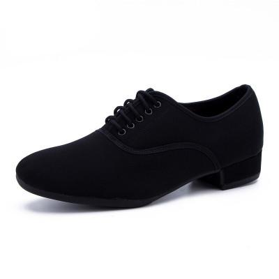 因樂思(YINLESI)舞鞋 男士摩登牛津布廣場跳國標交誼舞快步舞華爾茲軟底鞋 直板底2cm室外