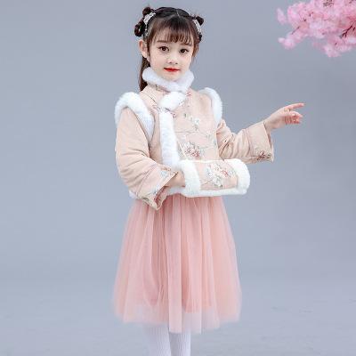 女童汉服秋冬加绒加厚儿童旗袍冬季拜年服小女孩新年裙子套装汉服