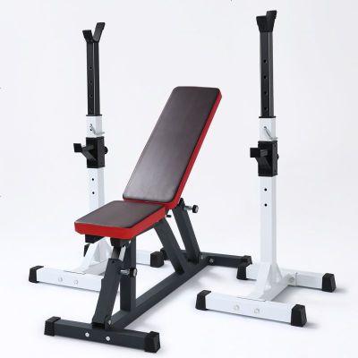 單買1臺深蹲架架家用可調節臥推架專業分體式舉重床杠鈴套裝杠鈴凳健身器材 定制