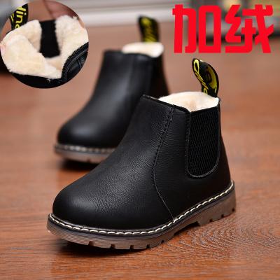 飞言秋冬雪地短靴女童靴子单靴儿童马丁靴男童加绒保暖大棉鞋时尚皮靴