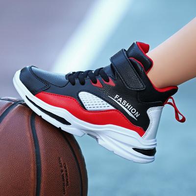 絳天 童鞋男2019新款籃球鞋兒童運動鞋透氣中大童戰靴防滑耐磨高幫男孩子跑步鞋