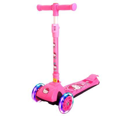 凱蒂貓3-8歲一秒折疊三檔可調節高度搖擺車PU閃光寶寶踏板車兒童滑板車50kg承重80CM以上