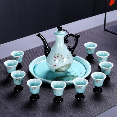 十門造器 陶瓷酒具套裝景德鎮中式白酒酒具酒壺酒杯套裝家用青瓷窯變分酒器