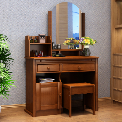 木源阁 实木梳妆台 小户型多功能卧室化妆桌子简约梳妆台