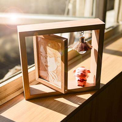 瑞仕茲 木刻畫照片定制DIY手工自制生日送閨蜜朋友女創意制作實用雕刻相片創意情侶生日禮物ins情人節禮品桌面擺件小燈飾