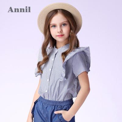 安奈儿童装女童荷叶边条纹立领短袖夏装新款