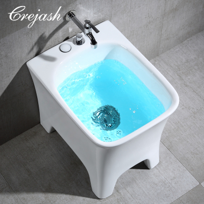 Crejash东尼卫浴公司 拖布池拖把池陶瓷方形 阳台墩布池拖把盆靠墙 配自动下水 一键台控下水