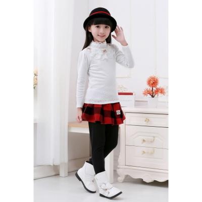 秋冬款加绒加厚童装女童蕾丝打底衫高领儿童长袖T恤小中大童包邮