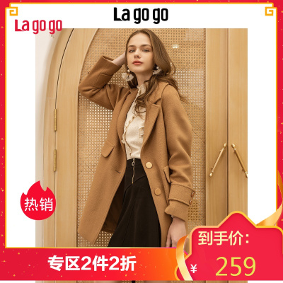 Lagogo2018冬季新款宽松长袖中长款大衣毛呢外套女HCDD239C57