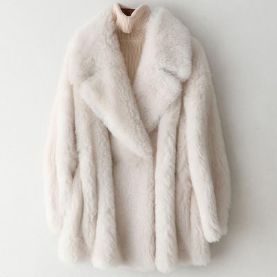 秋复合皮毛一体全羊毛美丽奴皮大衣女中长款外套W