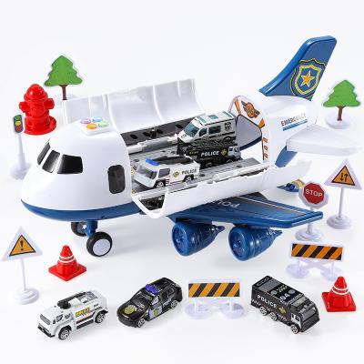育儿宝儿童玩具大号可收纳飞机模型带灯光音乐仿真客机男孩宝宝玩具车