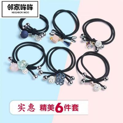 鄰家哞哞 6根頭繩韓版飾頭飾花朵頭繩夾扎頭繩兒童黑色橡皮筋夾頭