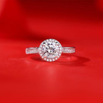 【錢掌柜】豪華圓包戒指 進口D色一克拉莫桑石純銀戒指時尚飾品經典網紅潮人同款