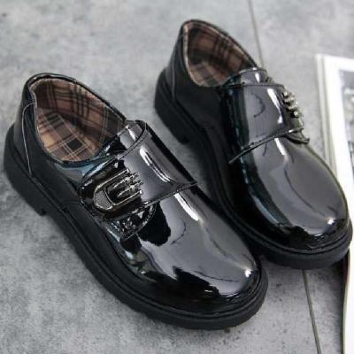 儿童演出黑色小皮鞋男童英伦男孩演出鞋大童秋小孩韩版主持人鞋 莎丞