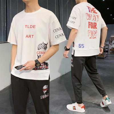 波斯萊 休閑套裝男士潮牌春夏季短袖t恤情侶裝衣服韓版潮流搭配帥氣一套