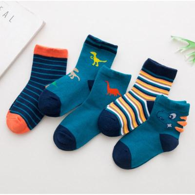 抹炫(MOXUAN)儿童卡通袜子小恐龙可爱童袜棉袜男女童中筒袜一组5双1-12岁