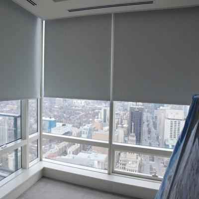 欧宝美定制办公室升降卷帘窗帘遮光浴室卧室厨房卫生间防水免打孔卷拉式