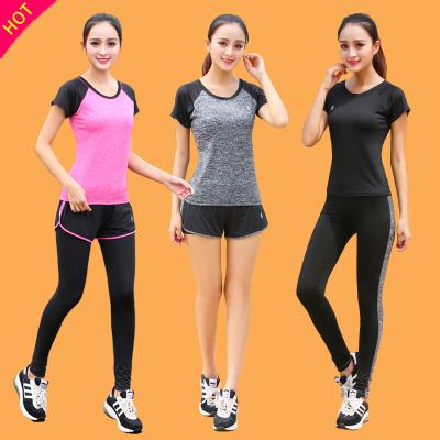 运动瑜伽服套装女大码夏季学生韩版五件套速干短袖上衣跑步健身服 莎丞