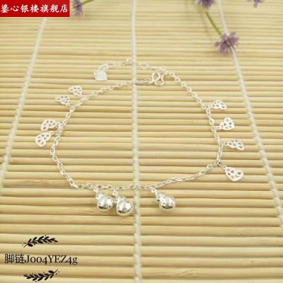 銀腳鏈999純銀 女鈴鐺 純銀腳鏈圓珠帶延長鏈細款簡約沙灘腳鏈