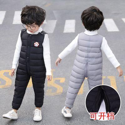 嬰幼兒童羽絨棉背帶褲男女童裝冬季加厚保暖外穿寶寶開襠連體褲 莎丞