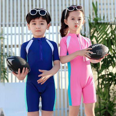 HKCP兒童泳衣女防曬女童連體短袖泳裝男童泳褲潛水服中大童女孩游泳衣